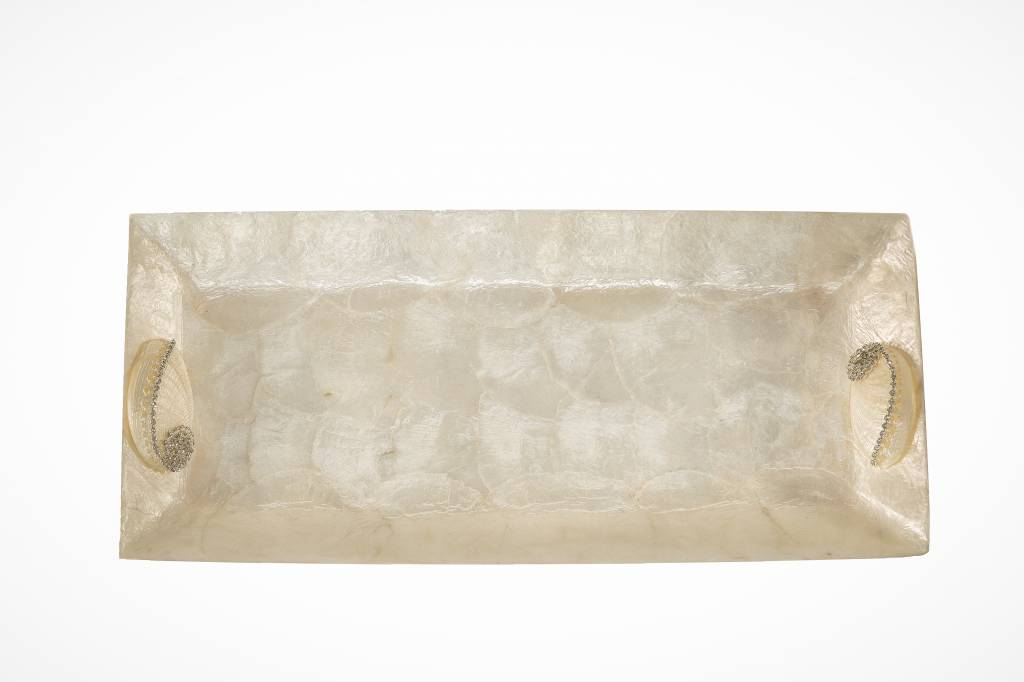 Capiz Shell Tray with Abalone Shell - White