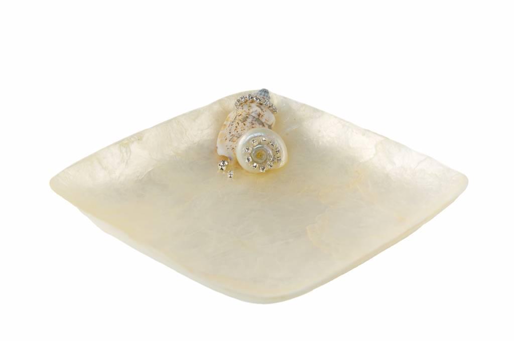 Capiz Shell Sq. Dish White
