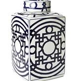 Blue and White Geometric Tea Jar