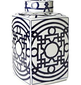 Blue and White Geometric Tea Jar