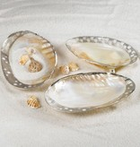 Ornamented Cabebe Shell Footed Dish w/Silver Plated Trim