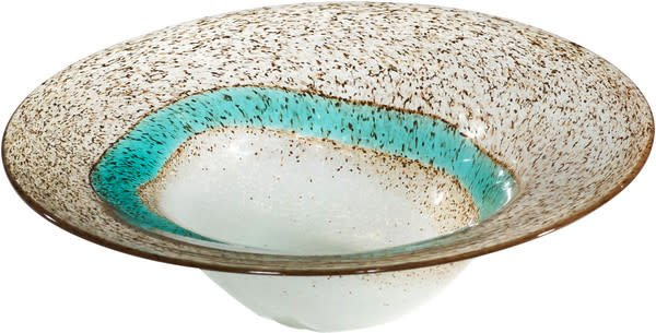 Aqua Brown Glass Bowl