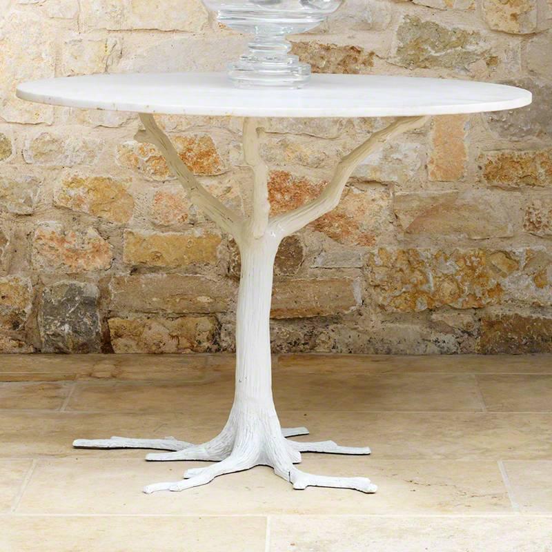 White Faux Bois Dining Table 41.5 dia