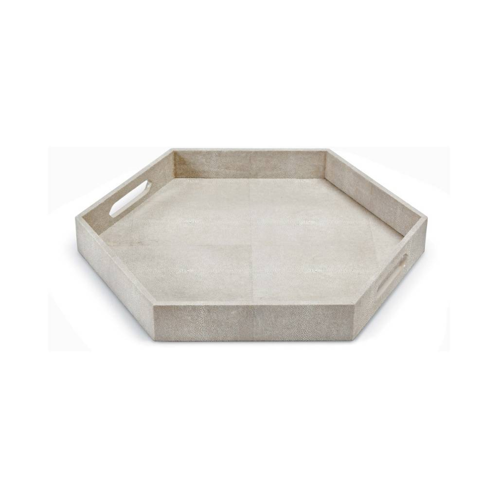 Shagreen Hex Tray (Ivory Grey)