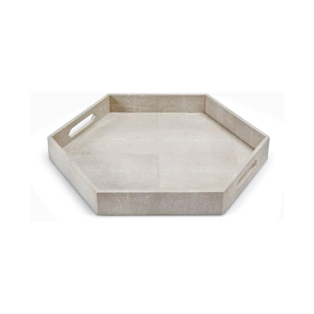 Shagreen Hex Tray (Ivory Grey)