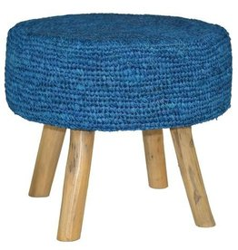 Raffia Stool Dark Blue