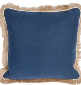 Navy Linen Pillow w/Eggshell Jute Trim
