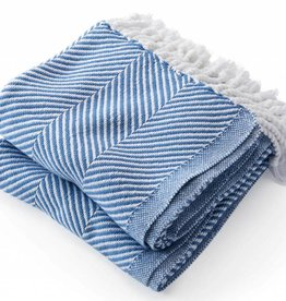 Baja Blue Cotton Herringbone Throw