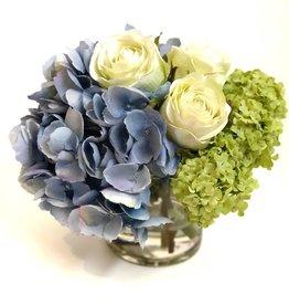 "Hydrangea, Rosebuds & Viburnum in 4""Cylinder (LBLGR)"