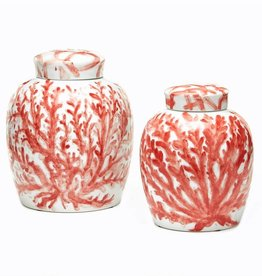 Coral Covered Ginger Jar Porcelain - Small