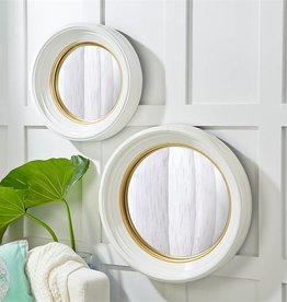 White Lacquer Round Convex Resin Mirror-Small