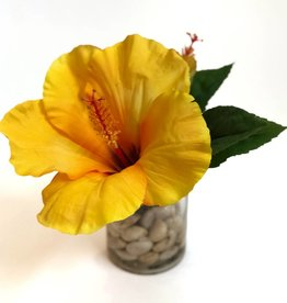 "Hibiscus in 3"" Cylinder with Faux Water/Stones (Yellow)"