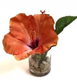 "Hibiscus in 3"" Cylinder with Faux Water/Stones (Coral)"