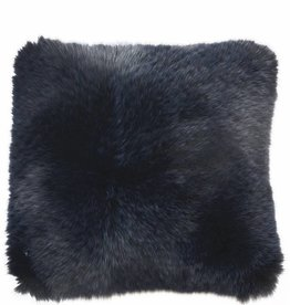 Cashmere Pillow with Fur-Navy