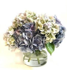 "Large Hydrangea x7 in 6"" Cylinder-Faux Water (Green, Light Blue)"