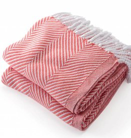Coral Cotton Herringbone Throw