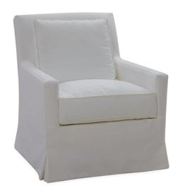 Slipcovered Swivel Chair-Boomer White
