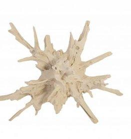 Cast Teak Root Sculpture White Stone