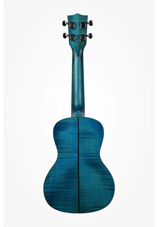 Kala Blue Translucent Satin Exotic Mahogany Concert