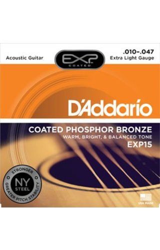 DAddario Fretted D'Addario EXP15 Extra Light Coated Phosphor Bronze