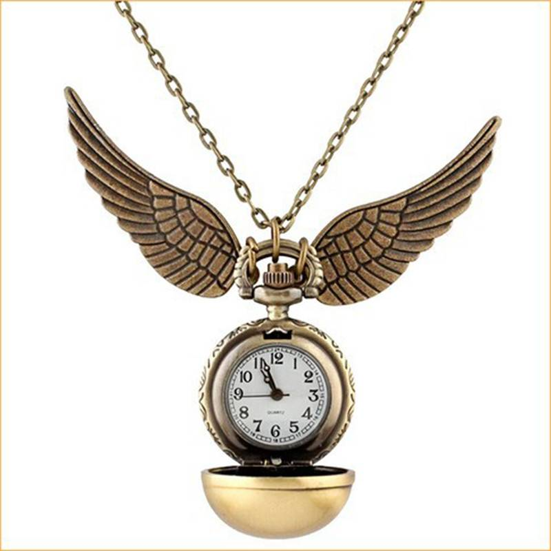 Harry Potter Golden Snitch Watch Chain Necklace W/Beads