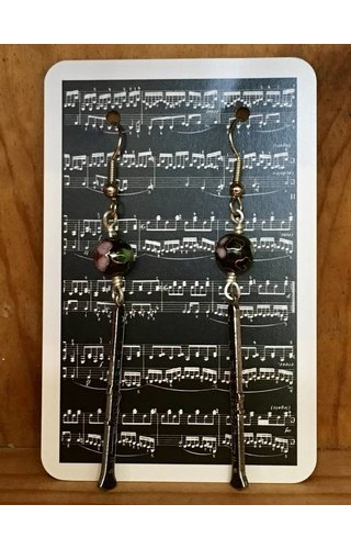 Clarinet French Cloisonne' Beaded Earrings