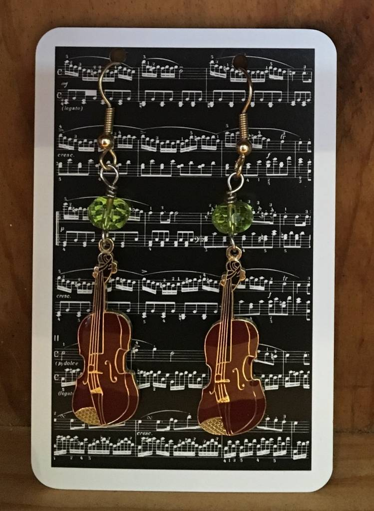 Violin Earrings with Vintage Green Glass Beads