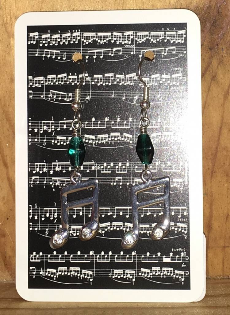 Green Glass Beads with Rhinestone Note Charms