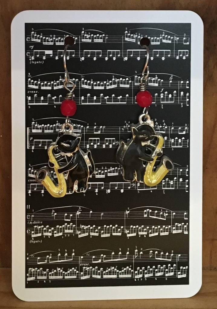 Earrings - Cats Playing Sax, Antique 40's German Glass Beads