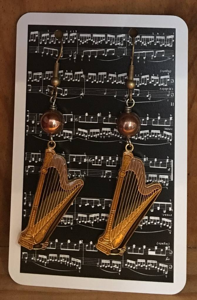 Harp Earrings With Copper Beads