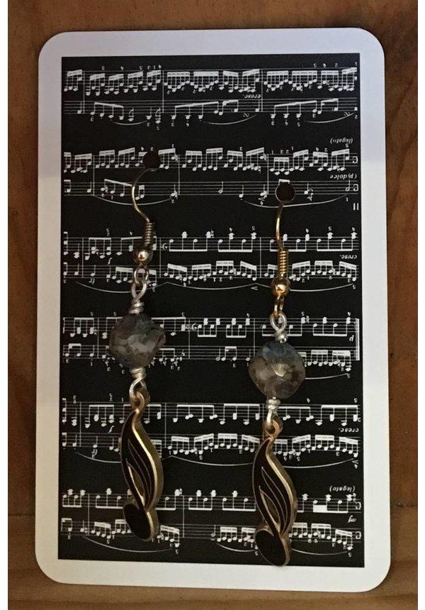 Earrings - Tied Note Black