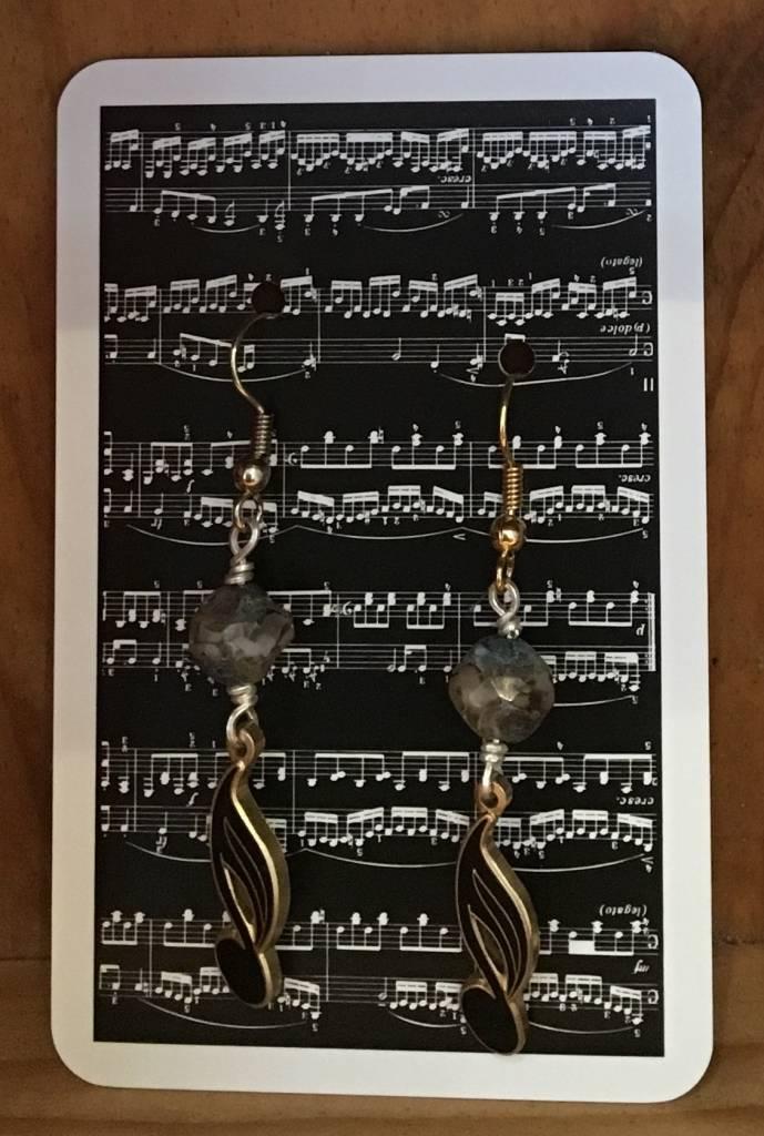 Earrings - 16th Note Black