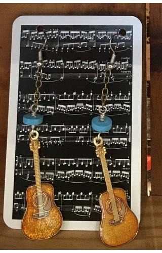 Guitar Earrings Turquoise Beads/Vintage Chain