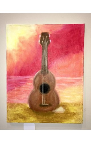 Ukulele by the Sea - Canvis Painting by Tabitha Adkins