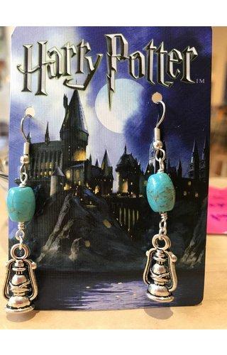 """Mischeif & Magic"" Lantern Earrings W/Turquoise Beads"