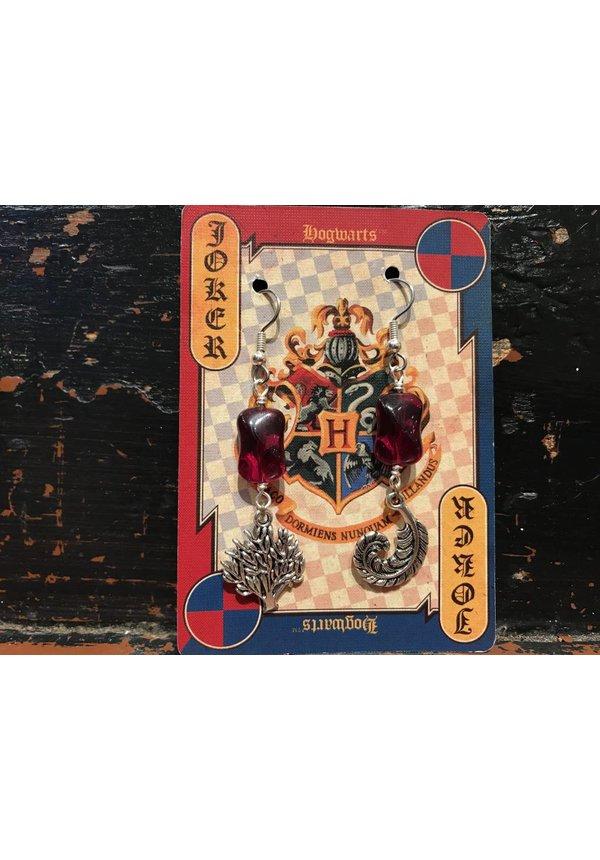 """""""Mischeif & Magic"""" Red Czech Glass Earrings"""