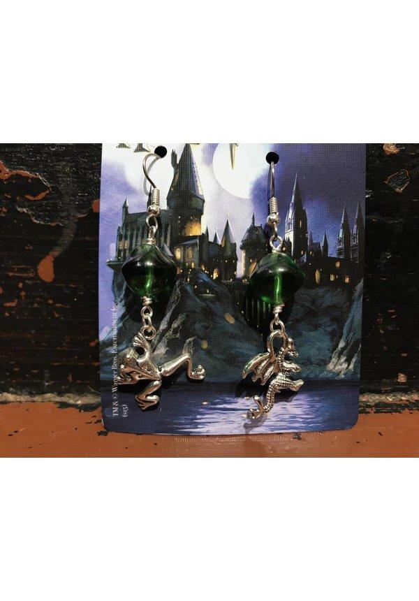 """""""Mischeif & Magic"""" Green Czech Glass Earrings"""