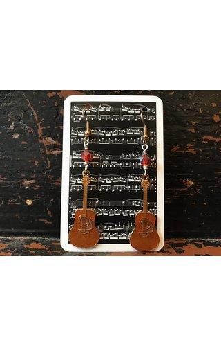 Guitar Earrings Vintage Red Glass Beads