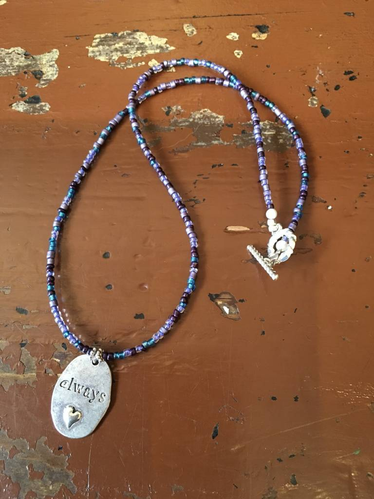 Always Beaded Charm Necklace - Blue