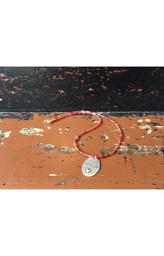 Always Beaded Charm Necklace - Red