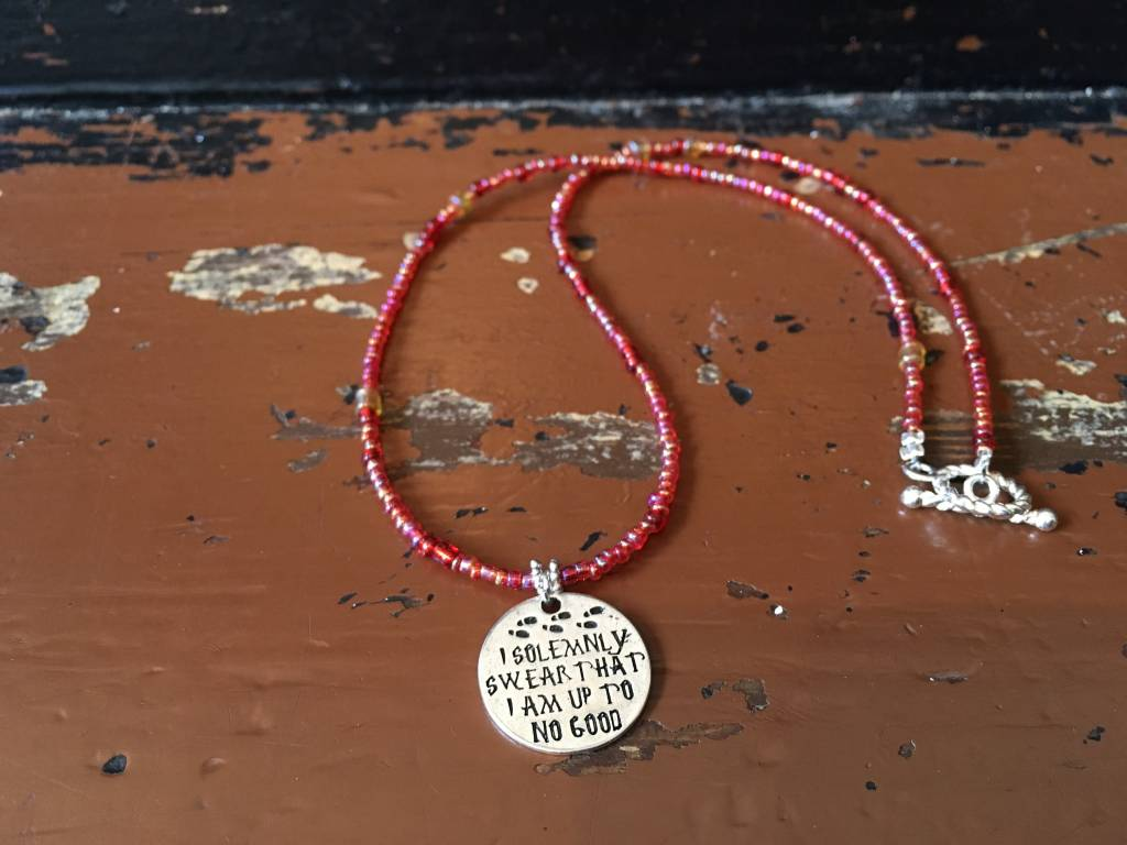 Glass Seed Beaded Necklace - I Solemnly Swear That I am Up To No Good