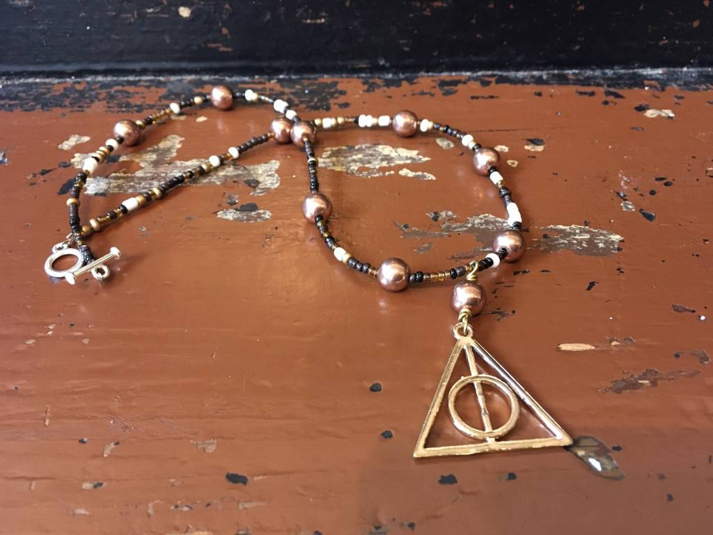 Deathly Hollows Glass Seed Beaded Necklace w/Vintage Copper Beads