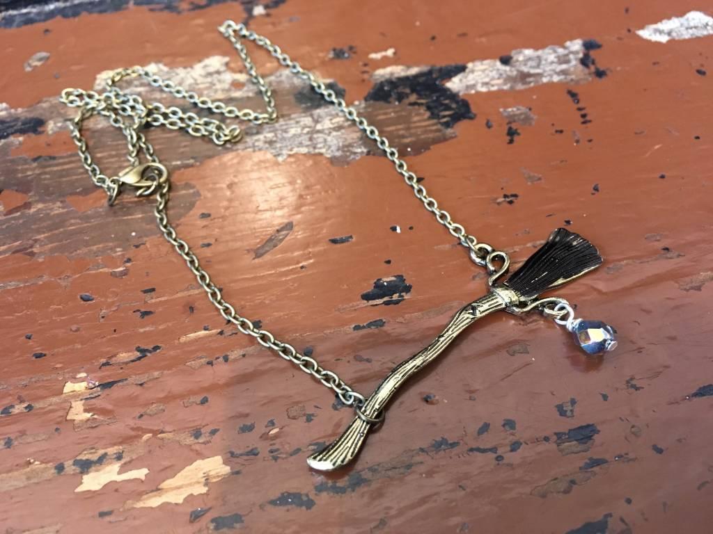 Custom Nibus 2000 Broom Necklace W/ Vintage Czech Glass Bead