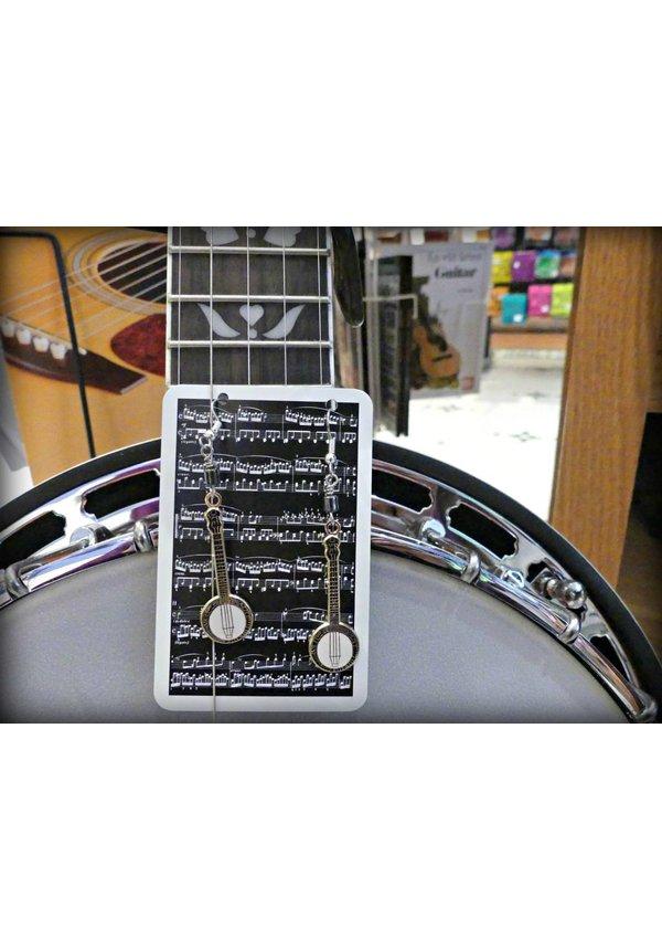 Banjo Earrings, Hematite Beads, Stainless Steel Hooks