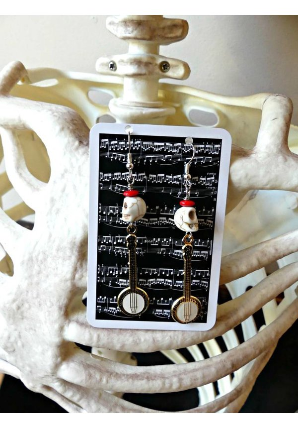 "Banjo Earrings W/Howlite ""Harvey"" Skulls & Vintage Jet Glass"