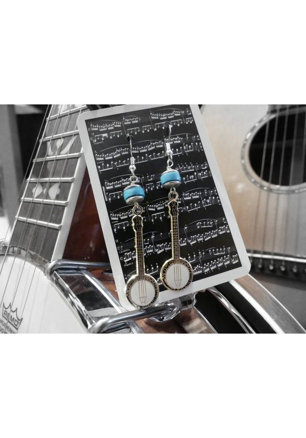 Banjo Earrings - Turquoise and Sterling Silver