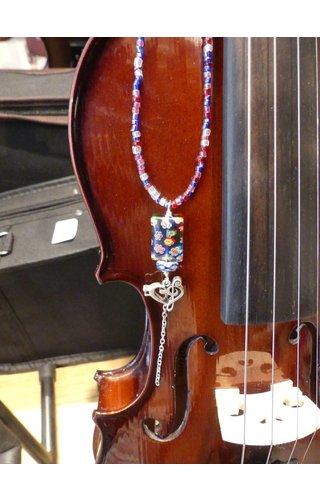 """I Love Music"" Blue Seed Beads, Sterling Bass/Treble Clef Heart"