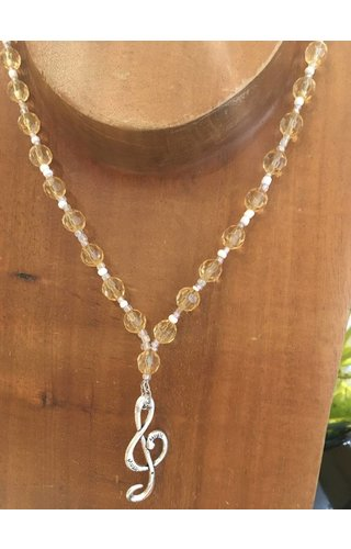 """""""Lemon Drop"""" Vintage Lucite Beads, Glass, Chain and Sterling Silver Treble Clef Charm"""