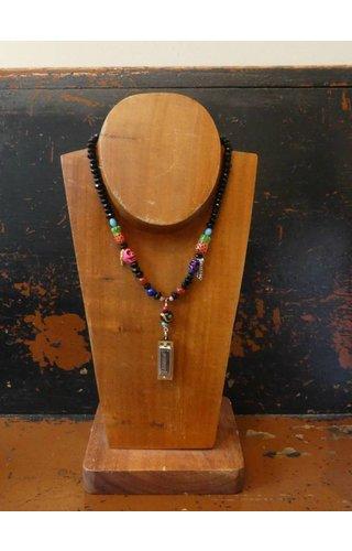 Hohner Mini C Harp, Vintage Jet Glass, Wooden Pinapples, Lucite Skulls W/Vintage Chaing, Carnehan & Lampwork Beads