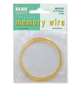 """12 Loop 2.25"""" Bracelet Memory Wire : Gold Plate"""